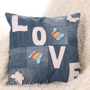 kolorowa poszewka na poduszkę dżinsowa, poduszka, poszweka, love, prezent