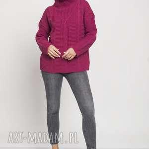 swetry dzianinowy golf, swe178 amarant mkm, dzianinowy, sweter, amarantowy