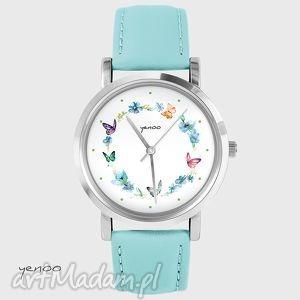 Prezent Zegarek, bransoletka - Kolorowy wianek turkusowy, skórzany, zegarek