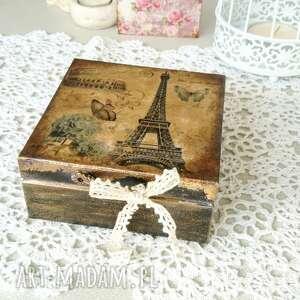 pudełka małe pudełko z wieżą eiffla, pudełko, na prezent, dekoracja do domu