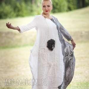 lniana malowana sukienka-01, sukienka, len, malowany biała sukienka