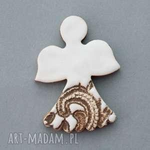 handmade pomysł na święta upominki aniołek-magnes ceramiczny
