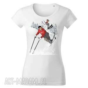 tatra art by sasadesign magdalena gądek - biała koszulka narciarze