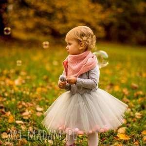 Sukienka z tiulem i pomponikami Grey Fluffy, pompony, pomponiki, tiul, tiulowa, tutu