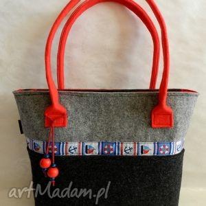 f68b8ef820051 happyart filcowa torba - z kotwicami, torba, marynarska, filcowa, hit,  prezent