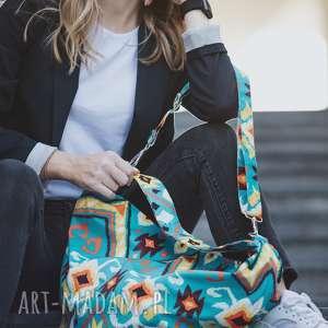 torba worek w azteckie wzory z weluru tapicerskiego, kolorowa na ramię