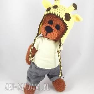 handmade zabawki żyraś - szydełkowy miś, personalizacja