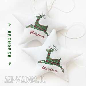 pracowniaktorejniema christmas - komplet dwóch gwiazdeczek, gwiazdki, święta, renifer