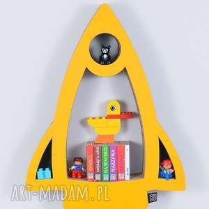 Półka na książki zabawki RAKIETA ecoono | żółty, półka, chłopiec, dziewczynka