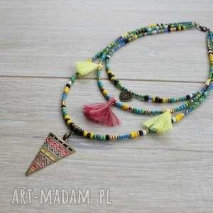 naszyjnik kaskadowy w stylu boho - kolorowy, kaskadowy, boho, bohemian, letni, etno