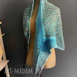 Chusta strzałka szaliki the wool art szal, chusta, na drutach