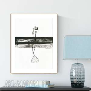 grafika 30x40 cm wykonana ręcznie, abstrakcja, elegancki minimalizm, obraz