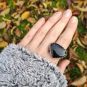 masywny pierścionek srebrny z czarnym onyksem r 19, onyks, pieścionek, duży