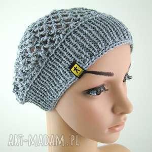 ręcznie wykonane czapki wiosenny ażurowy beret, szary