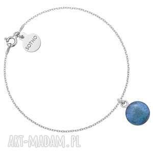 srebrna bransoletka z turkusową żywicą - minimalistyczna