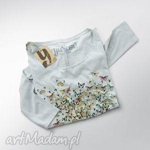 pod choinkę prezent, motyle serce bluzka oversize, szeroka, bluza, dekolt