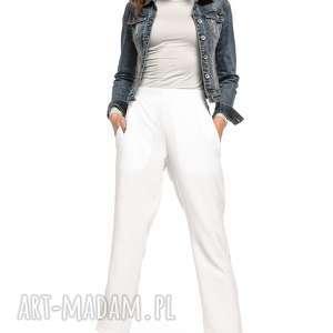 Spodnie cygaretki z kieszeniami, T271, biały, kieszenie,