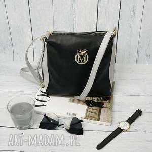 torebki torebka listonoszka manzana zameczki czarno-siwa, torebka, torba, damska