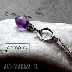naszyjniki srebro i kwarc ametystowy - naszyjnik wahadeŁko, fioletowy, z kamieniem
