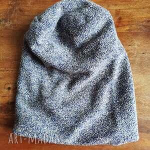 ręczne wykonanie czapki czapka ciepła damska smerfetka kolor pomiędzy niebieskim