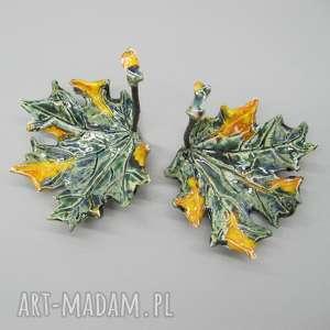 Podstawki fantazyjne liście ceramika santin dekoracja, wnętrze