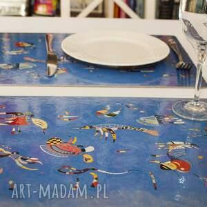 ręcznie wykonane podkładki zestaw 4 podkładek na stół błękitne niebo wassily kandinsky
