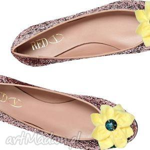 yellow flower - klipsy do butów, filc, kwiaty, klipsy, ozdoby, buty, spinki ozdoby