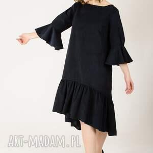 sukienki sztruksowa sukienka z falbankami, welur, welurowa, aksamit, sztruks