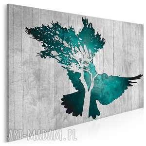 obraz na płótnie - gołąb turkusowy 120x80 cm 33402, gołąb, deski, drewno