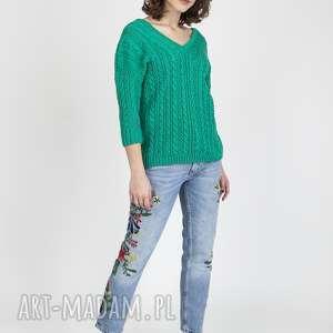 sweter z warkoczami, swe079 zielony mkm, sweter, modny, zielony, elegancki