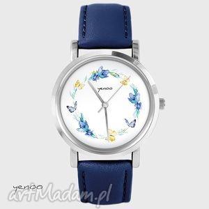 zegarek, bransoletka - wianek,motyle - granatowy, skórzany - zegarek, skórzany