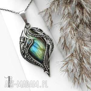 thalassius - srebrny naszyjnik z labradorytem, naszyjnik srebrny, wire wrapping