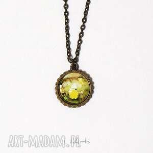 medalion, naszyjnik - żółty kwiat mały, brąz, naszyjnik