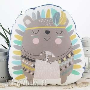 pokoik dziecka poduszka przytulanka, indiański jeżyk, bawełna, granatowe minky