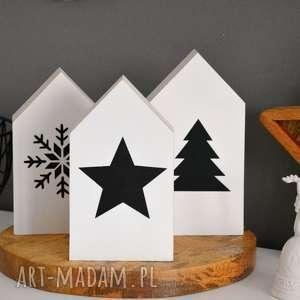 3 x domki drewniane - domki, domek, drewniany, gwiazda, choinka, wianek