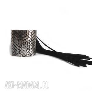 bransoleta skórzana srebrna fringe, frędzle
