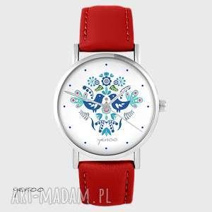ręcznie zrobione zegarki zegarek - ptaszki folkowe, niebieskie czerwony