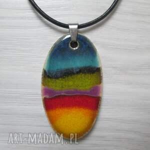 tęczowy naszyjnik ceramiczny (z ceramiki, kolorowy, naszyjnik ceramika, zapinany)