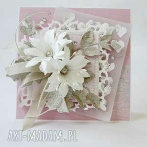 scrapbooking kartki w pudrowym różu - pudełku, ślub, życzenia, gratulacje
