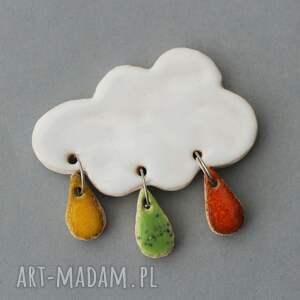 chmurka i krople deszczu-broszka ceramiczna, skandynawski, minimalizm design, prezent