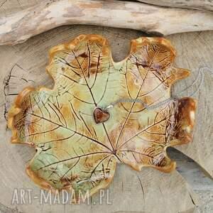 ceramika ceramiczny talerz liść c314, klon, ceramiczna, ceramika, podstawka