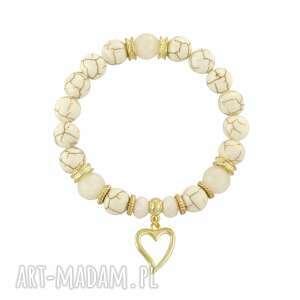 lavoga earth energy - ivory gold , howlit, bransoletka, jadeit, zawieszka, serce