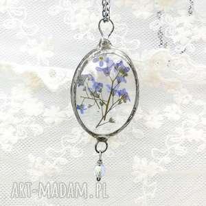 Prezent Niezapominajki - naszyjnik z prawdziwymi kwiatami w szkle