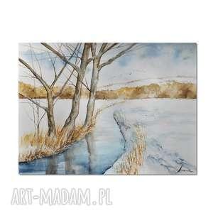 pejzaż zimowy /12/, akwarela, pejzaż, obraz, ręcznie, malowany