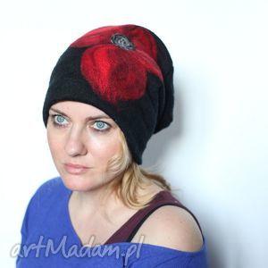 czapka handmade wełniana z kwiatem - czapka, wełna, kwiaty, ludowa, etniczna