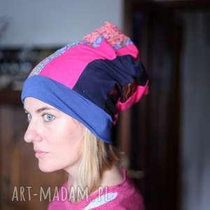 czapka damska kolorowa patchworkowa, czapka, kolorowa, etno, boho, patchwork, folk