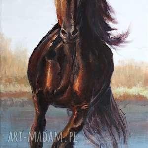 obraz - koń biegnący akryl na płótnie, koń, obraz, malowany, ręcznie, akrylowy