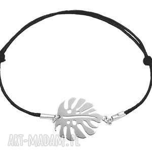 ręcznie zrobione srebrna sznurkowa bransoletka liść monstera