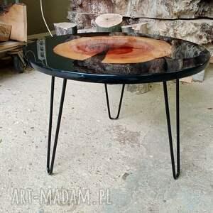 stoły okrągły stolik kawowy z żywicą 8, połysk, żywica, stolik, lakier, drewno