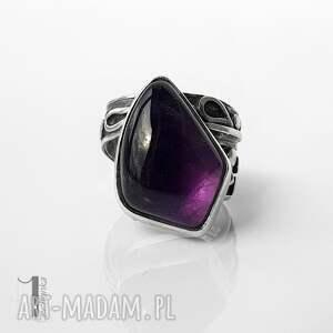 moor - srebrny pierścień z ametystem miechunka - pierścionek z ametystem